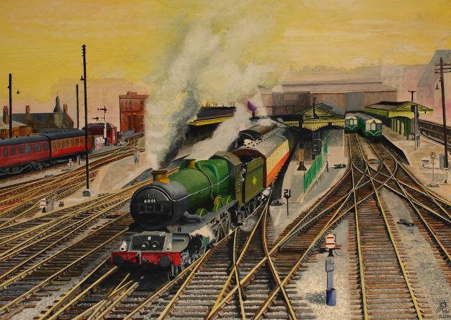 Making Tracks, a painting of King Edward VII steam engine
